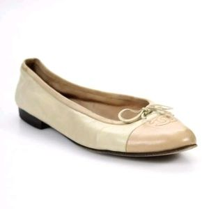Chanel Nude Leather Ballet Flats - Size 38